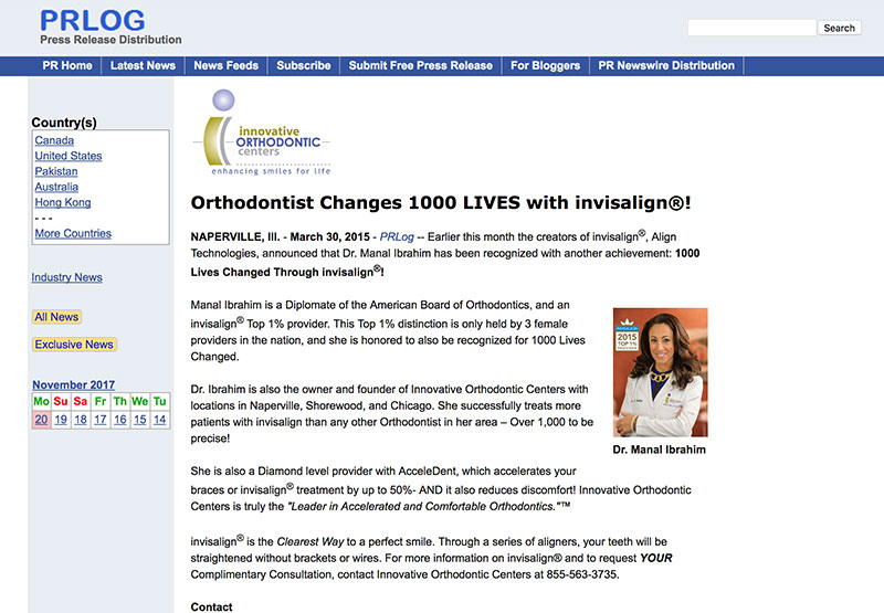 Press Release:Local Orthodontist Recognized For Changing 1000 Lives with invisalign